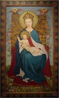 Madonna of the Rose Bush, Stephan Lochner (German, 1400-1451) 1937, Oil on canvas Collection of the College  of St. Catherine