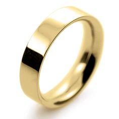 18ct Yellow Gold Wedding Rings Heavy Flat Court - 5mm