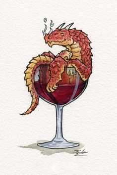 Dreaming Dragon Red Wine. Drawings of Surreal Drinking Visions of Animals. By Jon Guerdrum.