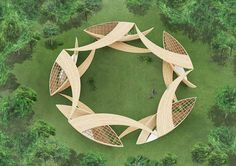 "An incredible structure entitled ""Timber Ribbons"" by Yuusuke Karasawa Architects."
