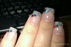 Beautiful silver glitter acrylic with red and blue stars- 4th of July Patriotic