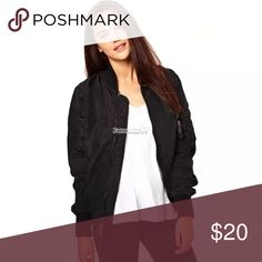 Black bomber jacket Worn once size L not sure of brand Forever 21 Jackets & Coats