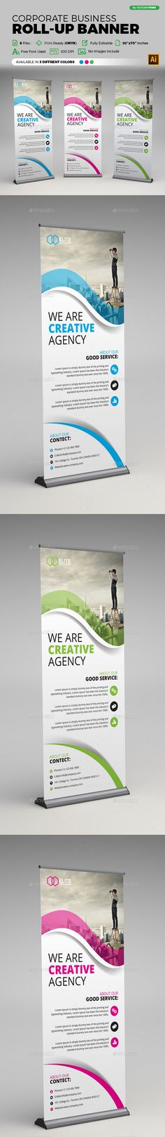 Corporate Business Roll-up Banner Ads Design Template - Signage Ads Banner Print Design Template Vector EPS, AI Illustrator. Download here: https://graphicriver.net/item/corporate-business-rollup-banner/18947452?ref=yinkira