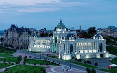 Download wallpapers Agricultural Palace, Kazan, Beaux-Arts architecture, Palace Square, Tatarstan, Russian Federation, night sights