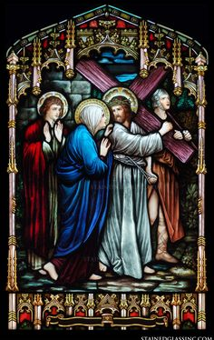 """""""Jesus' Passion"""" Religious Stained Glass Window"""