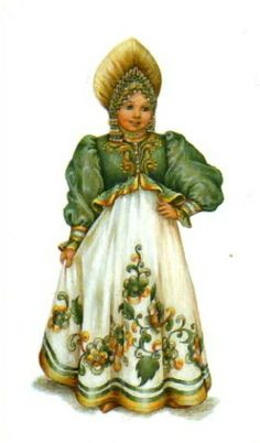 "Russian traditional costume, stylization for the stage. A postcard from the set ""Russian Stage Costume"", 2005. #art #folk #Russian #costume"