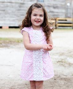 RuffleButts Tangier Pink Front 3-Ruffle Woven Dress for Toddler & Baby Girls #RuffleButts