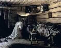 Artist Maximowitsch created this moving artwork of a Catholic woman kneeling in prayer and supplication. She asks that her sick and dying husband on the bed be healed. Evening Prayer, Night Prayer, Spiritual Images, Spiritual Life, Ben Sira, Praying For Husband, Catholic Cardinals, Gothic Elements, Kneeling In Prayer