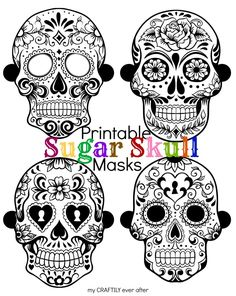 Printable Day of the Dead Sugar Skull Masks for Halloween