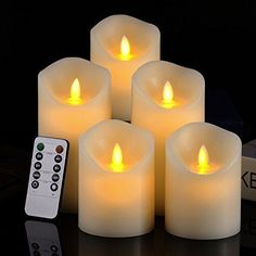 Set of 5 Realistic Moving Flame Real Wax Flameless Candles with 10-Key Remote  #Pandaing