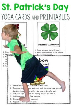 St. Patrick's Day Gross Motor.  Incorporate yoga for kids with a St. Patrick's Day theme this Spring.  Make movement fun!