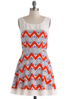 The Pinwheel Deal Dress - Red, Blue, Chevron, Party, A-line, Tank top (2 thick straps), Scoop, Multi, White, Summer, Mid-length