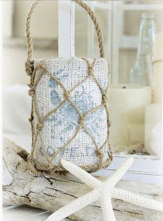 sacchetto di iuta con corda - Arredamento Shabby