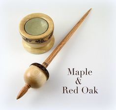 Maple and Red Oak Acorn Support Spindle with Matching Spindle Bowl by Grizzly Mountain Arts