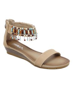 b3ade2c41a802e Take a look at this Beige Bead-Accent Double-Strap Sandal today! Strap