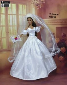 Robe Barbie mariée N°22 Vêtement pour poupée Barbie Silkstone Fashion Royalty Muse f3788