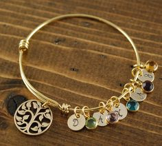 Gold Tree of Life Bracelet Family Tree Bracelet Gold by AnnieReh