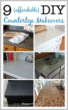 10 countertop makeovers on a budget. Ready to redo countertops in your kitchen but don't want to spend a fortune? Do you own countertop makeover with one of these DIY countertops! Home Renovation, Home Remodeling, Kitchen Remodeling, Pintura Patina, Countertop Makeover, Laminate Countertops, Bathroom Countertops, Painted Countertops, Stone Countertops
