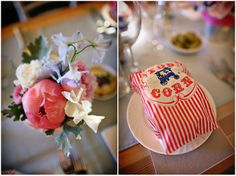 Peonies and popcorn at an outdoor Tipi Wedding at Bittenham Springs in the Cotswolds - nealejames.com