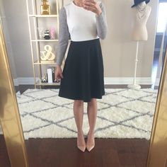 Skirt and top with pumps.  Click the following link for photos  and details: http://www.stylishpetite.com/2015/03/sale-alert-40-off-everything-at-loft.html