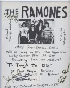 The Ramones in-store performance at Final Vinyl. Thurs. Oct. 18th