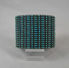 Cuff | Designer ? (Zuni).  Silver and Needlepoint Turquoise.  ca 1960s