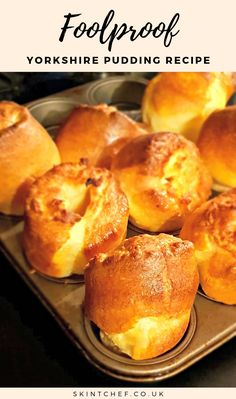Our Yorkshire pudding recipe is foolproof and it's cheap, quick and easy. It's also super tasty and is an absolute essential for your Sunday roast. Instant Pudding, Easy Yorkshire Pudding Recipe, Yorkshire Recipes, Yorkshire Pudding Recipe In Cups, Traditional Yorkshire Pudding Recipe, Roast Beef With Yorkshire Pudding, How To Make Yorkshire Pudding, Beef Recipes, Gastronomia