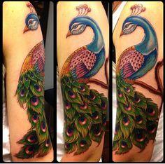 Done by Raidel Bas at Adrenaline Toronto #tattoos #toronto #colourtattoos #peacock #adrenalinetoronto #torontotattoos