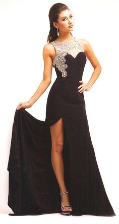 Prom Dresses<BR>Evening Dresses under $200<BR>7963<BR>Long black gown, sheer neckline, beaded sweetheart bodice.