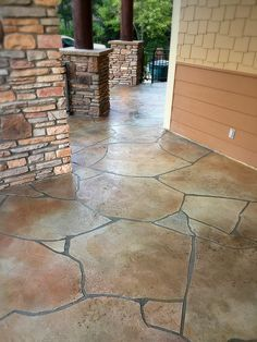 Patios and decks are a great place to utilize a concrete overlay! For this patio, Concrete-Visions modeled the concrete to create a surface which looks like natural stone. #ConcreteVisions #FortCollins #remodel #concreteoverlay #deck