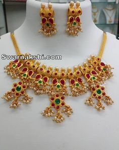 7bd7ca535 1 gram gold ruby emerald mango floral pearl line necklace buy online