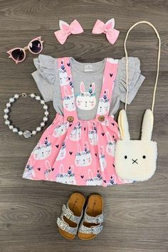 Girls 2 PC Skirt Outfit Toddler Baby Kids Clothing Easter Bunny Boutique Set - All About Baby Outfits, Little Girl Outfits, Cute Outfits For Kids, Toddler Girl Outfits, Baby Girl Fashion, Toddler Fashion, Kids Fashion, Baby Kids Clothes, Kids Clothing