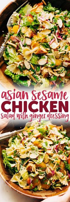 Sesame Chicken Pasta Salad with Ginger Dressing - Homemade ginger dressing drizzled all over a crunchy filling salad Its so good you ll want it for lunch and dinner every night this week salad sesamechickensalad asianchickensalad chickenpastasalad Asian Recipes, Yummy Recipes, Healthy Recipes, Cheap Recipes, Oven Recipes, Skinny Recipes, Cookie Recipes, Asian Chicken Salads, Veggies