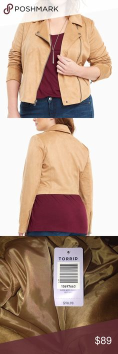 Highly Rated Torrid Suede Moto Jacket Plus Size 4 Torrid is trading in their black faux leather for buttery-soft camel faux suede on moto jackets. The same classically tough details are still accounted for though; cropped length, moto asymmetrical collar and chunky zippers. Polyester/spandex torrid Jackets & Coats
