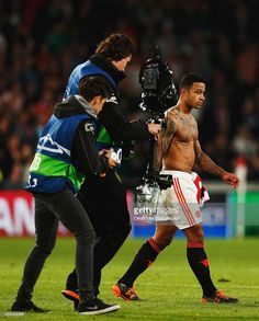 Former PSV player Memphis Depay of Manchester United is filmed after defeat in the UEFA Champions League Group B match