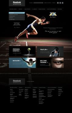 Web design ideas - Reebok Sport Club by Julián Pascual González, via Behance Sports Sites, Sports Clubs, News Web Design, Site Design, Website Layout, Web Layout, Layout Site, Book Logo, Ios