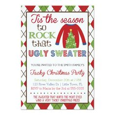 Shop Tacky Ugly Sweater Holiday Party Invitation created by SunflowerDesigns. Personalize it with photos & text or purchase as is! Invitation Card Party, Christmas Party Invitations, Invitation Paper, Birthday Invitations, Invite, Tacky Christmas Party, Christmas Photo Cards, Merry Christmas, Xmas