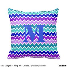 Teal Turquoise Navy Blue Lavender Purple Chevron Throw Pillows