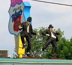 Blues Brothers on a Route 66 roof in Joliet, Illinois