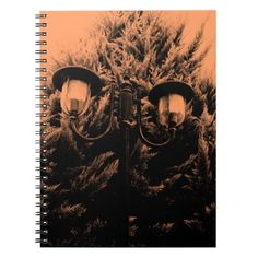 Orange and black cypress and lamp post photograph note books.