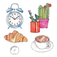 """More illustrations LINE BOTWIN """"girly illustrations """" Good objects - Hello monday! Watercolor Illustration, Watercolor Art, Diy Crafts To Do, Object Drawing, Hello Monday, Simple Doodles, Food Illustrations, Art Sketchbook, Art Drawings"""