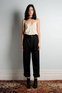 loose fit tank #top x black high waist #pants