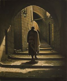 The Art of Eretz Israel. Old Jerusalem. Road to the Western Wall.  50х60сm. oil on canvas. You can make a Copy of this Picture, high quality printing on canvas.