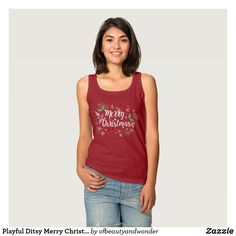 Playful Ditsy Merry Christmas Design | Tank Top
