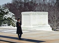 Tomb of The Unknown Soldier with Honor Guard following Spring Snow