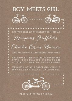 Cute Bicycle themed wedding invitation for the big city bride and groom looking to incorporate their love of bikes into their special day. Design by Minted artist five sparrows.