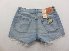 Levi's Womens Patched Medium Wash Denim Golden State Warriors Basketball Jean Shorts Size 28 by KCteedesigns on Etsy