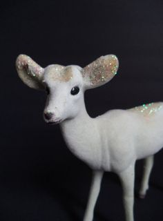 Vintage White Flocked Doe Fuzzy Flocked Deer by SPARKLESandSASS