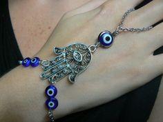 evil eye hamsa hand slave bracelet  BLUE evil eyes hamsa Fatima protection Indie Fusion Belly dancer Moroccan gypsy boho hipster