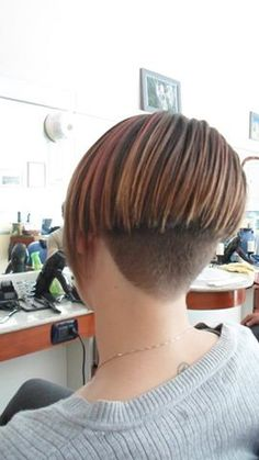 Short Wedge Hairstyles, Stacked Bob Hairstyles, Cool Hairstyles, Shaved Bob, Shaved Nape, Short Hair Cuts, Short Hair Styles, Forced Haircut, Angled Bob Haircuts